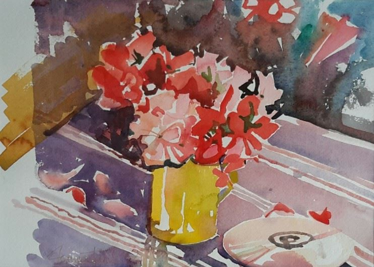 JAMES Geraniums in Yellow Mug 14 x 10 watercolour