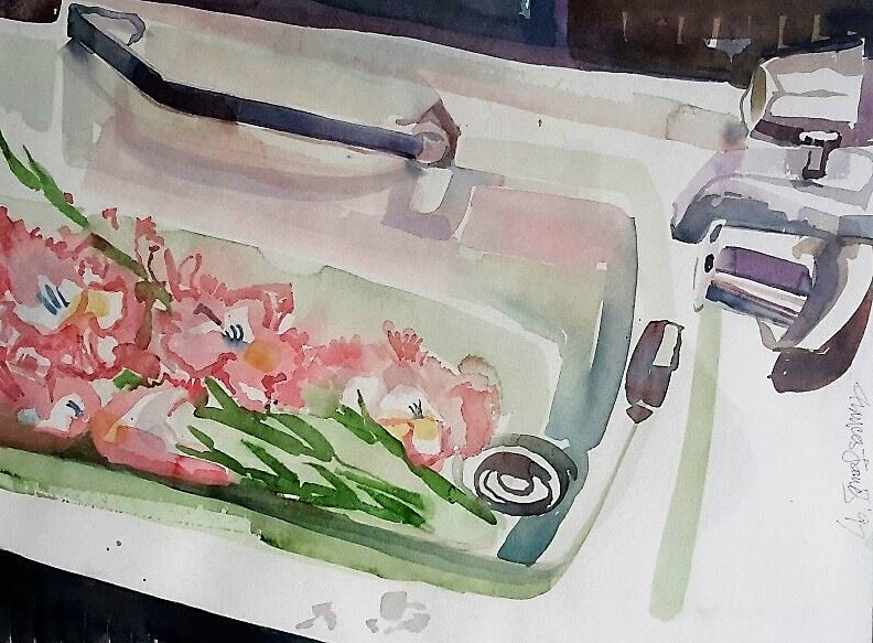 JAMES Gladiola in the Bath 15.5 x 22 watercolour