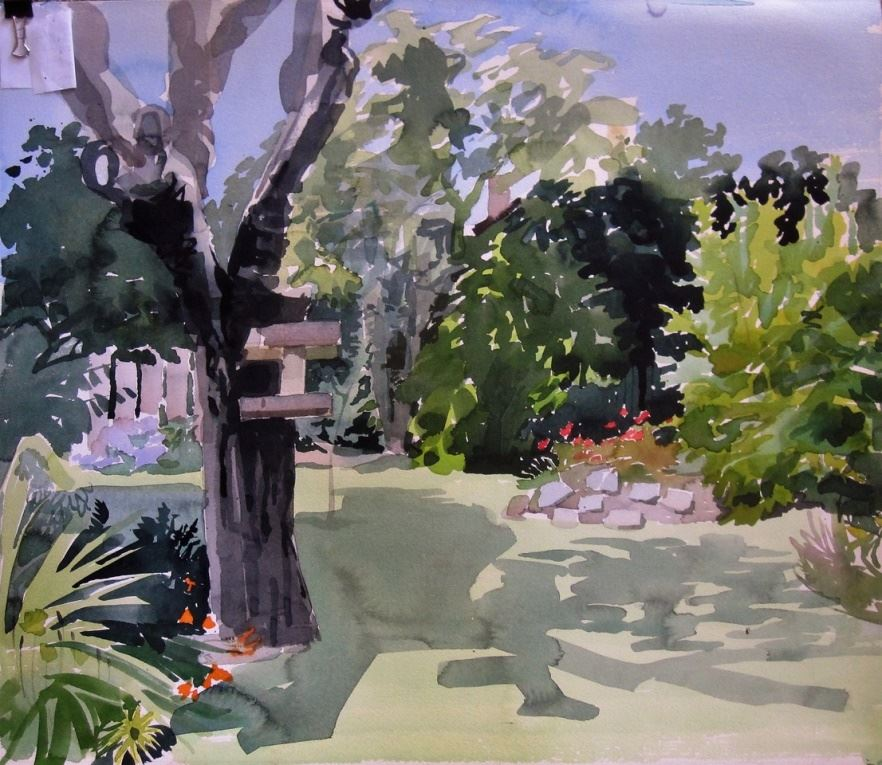 JAMES In The Back Garden 14 x 22 watercolour