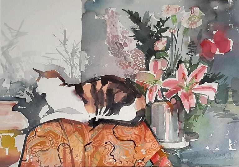 JAMES Little Cat 20 x 14 watercolour