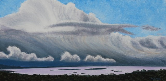 Sarah Amos - Thundercloud rising over Oak Bay (oil on canvas)